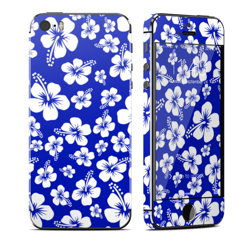 iPhone SE, 5s Skin design of Blue, Pattern, Plant, Flower, Petal, Design, Wildflower, Floral design, Black-and-white, Visual arts with blue, white colors