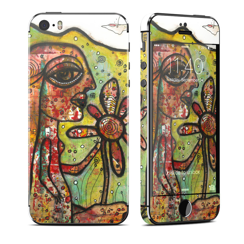 iPhone SE 1st Gen, 5s Skin design of Modern art, Art, Painting, Acrylic paint, Psychedelic art, Visual arts, Watercolor paint, Illustration, Paint, Style with green, black, red, white, orange, yellow colors