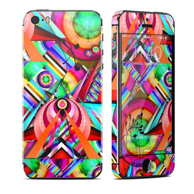 iPhone SE, 5s Skin design of Psychedelic art, Pattern, Design, Graphic design, Colorfulness, Visual arts, Circle, Art with red, pink, green, yellow, orange colors