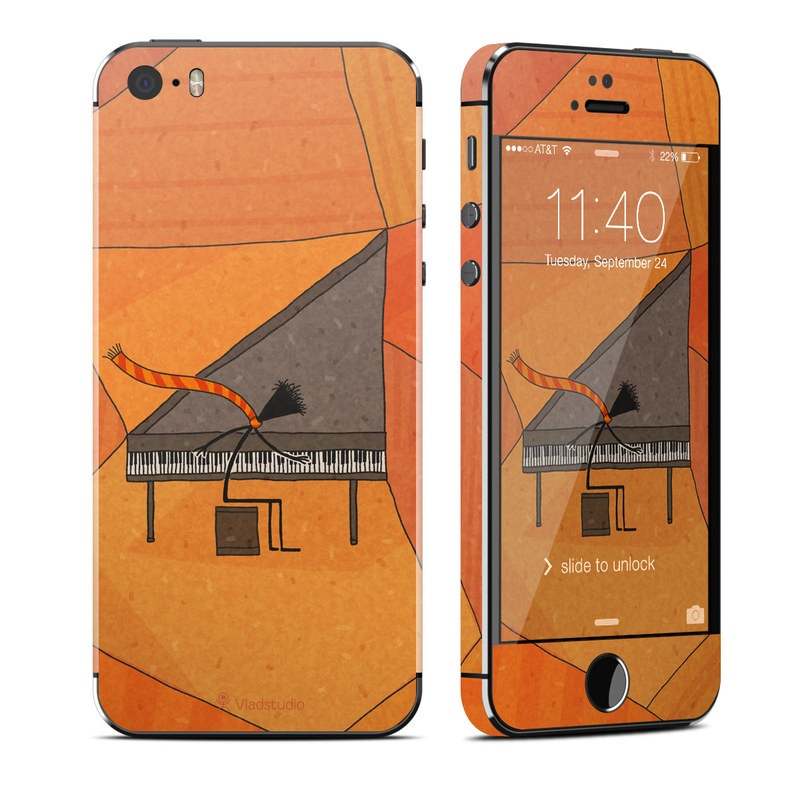 iPhone SE 1st Gen, 5s Skin design of Orange, Line, Pattern, Triangle, Design, Architecture, Illustration, Art, Tile, Visual arts with orange, gray, black colors