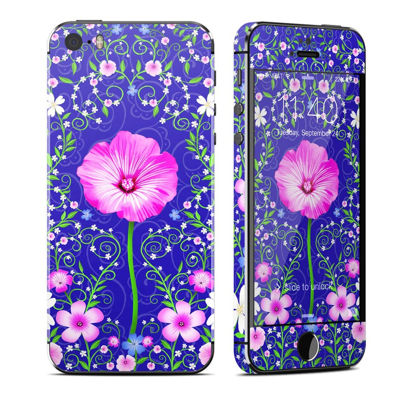 iPhone SE 1st Gen, 5s Skin design of Purple, Violet, Flower, Plant, Wildflower, Pattern, Petal, Design, Graphics, Morning glory with blue, purple, pink, green, white, yellow colors