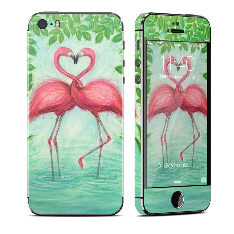 iPhone SE 1st Gen, 5s Skin design of Flamingo, Greater flamingo, Bird, Water bird, Pink, Illustration, Watercolor paint, Organism, Drawing, Stork with pink, blue, green colors