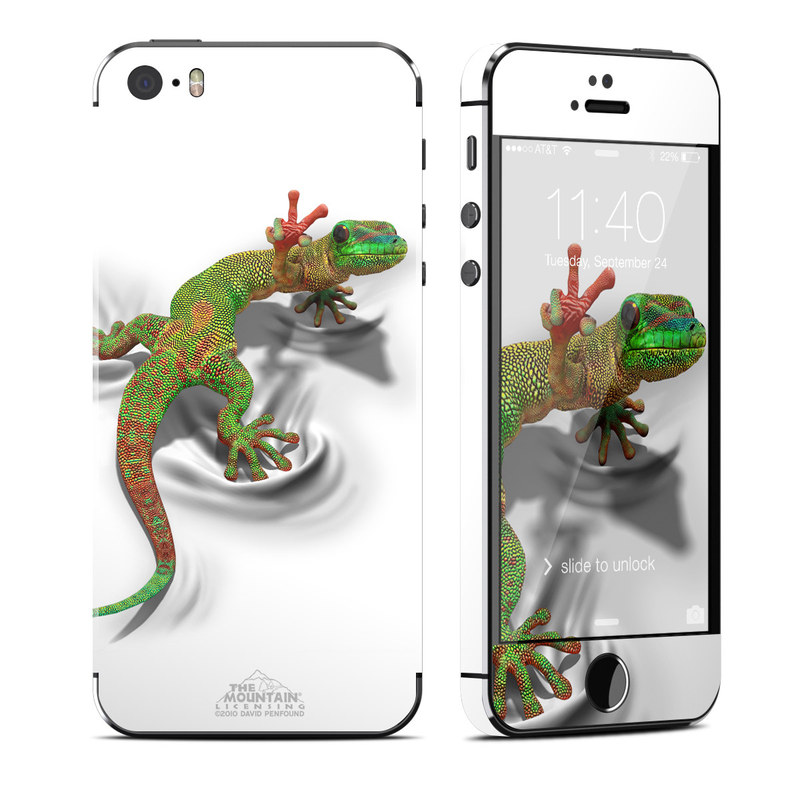 iPhone SE, 5s Skin design of Lizard, Reptile, Gecko, Scaled reptile, Green, Iguania, Animal figure, Wall lizard, Fictional character, Iguanidae with white, gray, black, red, green colors