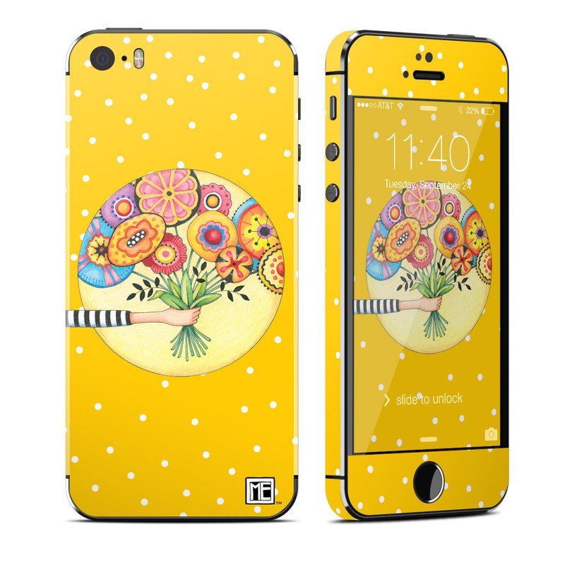 iPhone SE 1st Gen, 5s Skin design of Circle, Illustration, Clip art, Plant with orange, yellow, pink, gray, green, black colors