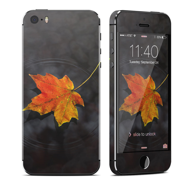 iPhone SE 1st Gen, 5s Skin design of Leaf, Maple leaf, Tree, Black maple, Sky, Yellow, Deciduous, Orange, Autumn, Red with black, red, green colors