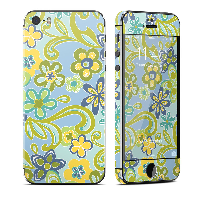 iPhone SE, 5s Skin design of Pattern, Yellow, Wrapping paper, Design, Visual arts, Floral design, Pedicel, Plant, Wallpaper, Flower with gray, green, blue, orange, pink colors