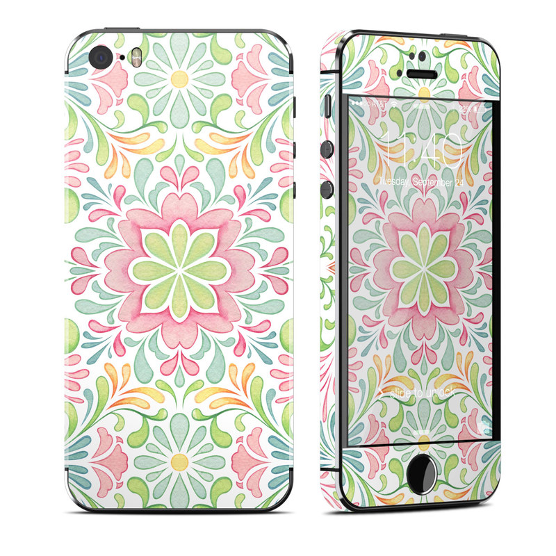 iPhone SE 1st Gen, 5s Skin design of Pattern, Pink, Visual arts, Design, Textile, Wrapping paper, Symmetry, Floral design, Motif with gray, white, pink, green colors