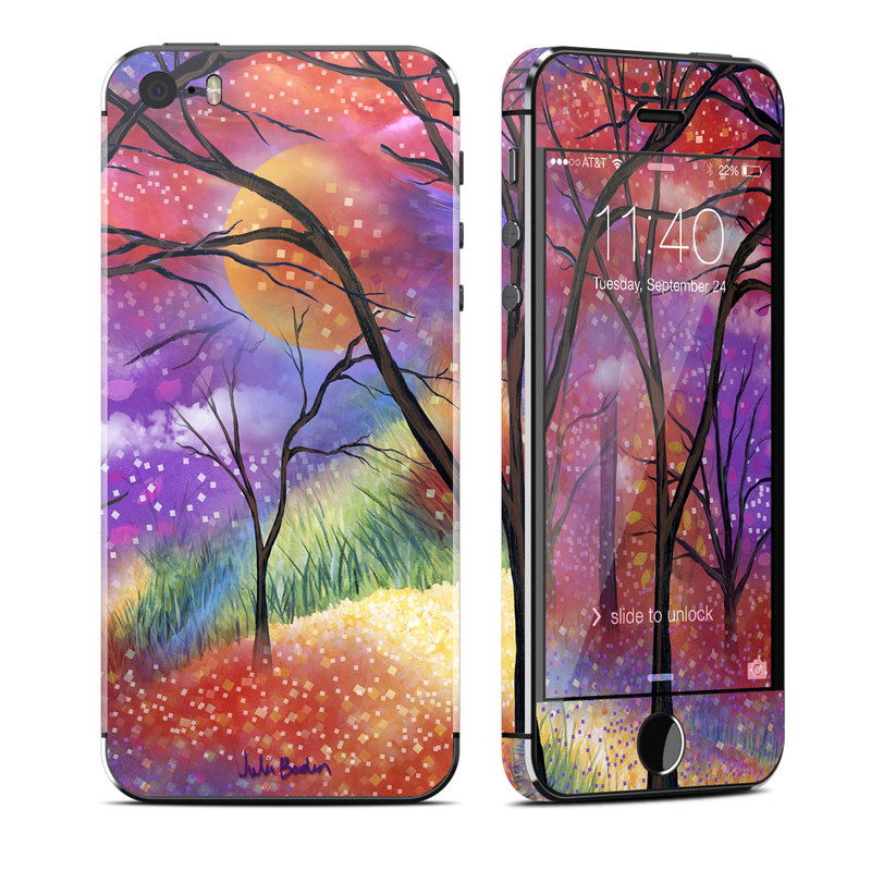 iPhone SE, 5s Skin design of Nature, Tree, Natural landscape, Painting, Watercolor paint, Branch, Acrylic paint, Purple, Modern art, Leaf with red, purple, black, gray, green, blue colors