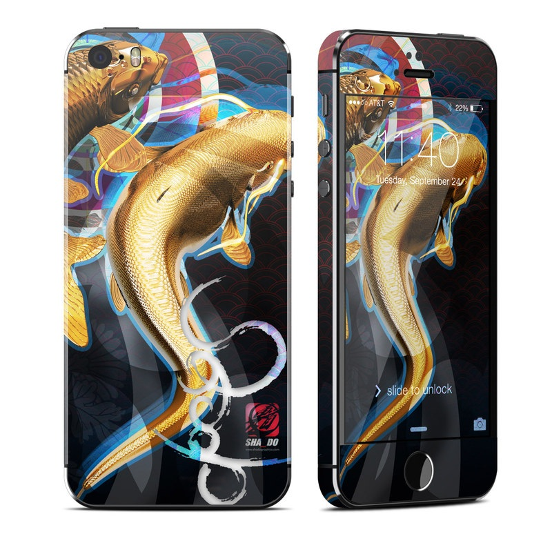 iPhone SE, 5s Skin design of Illustration, Fictional character, Graphic design, Cryptid, Koi, Art with yellow, black, red, blue, white colors