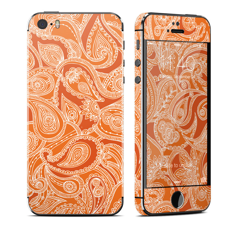 Paisley In Orange iPhone SE, 5s Skin