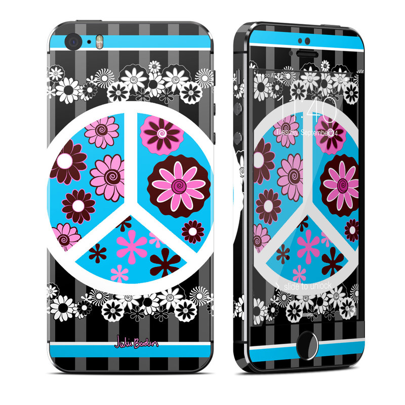 Peace Flowers Black iPhone SE, 5s Skin