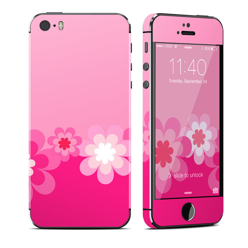 Retro Pink Flowers iPhone SE, 5s Skin