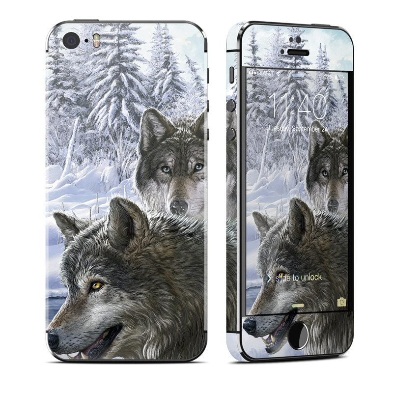 iPhone SE, 5s Skin design of Mammal, Vertebrate, Wolf, Canidae, canis lupus tundrarum, Canis, Wildlife, Carnivore, Wolfdog, Dog with gray, black, blue, purple colors