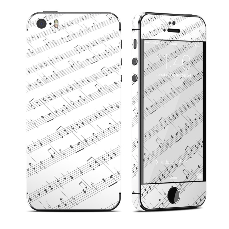 iPhone SE 1st Gen, 5s Skin design of Sheet music, Music, Text, Monochrome, Line, Font, Parallel, Classical music with white, gray colors