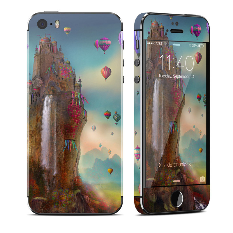 iPhone SE 1st Gen, 5s Skin design of Hot air balloon, Sky, Hot air ballooning, Illustration, Graphic design, Art, Cg artwork, Vehicle, Rock, Graphics with black, gray, blue, red, green colors