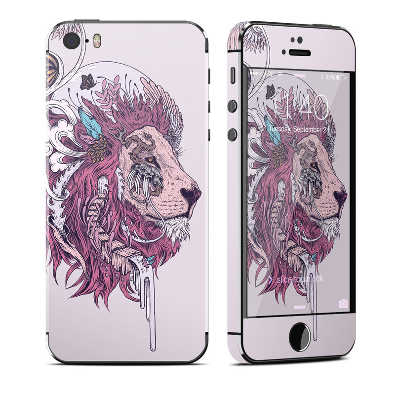 iPhone SE 1st Gen, 5s Skin design of Illustration, Drawing, Sketch, Art, Graphic design, Lion, Goats, Fictional character, Ink, Bison with gray, purple, black, red colors