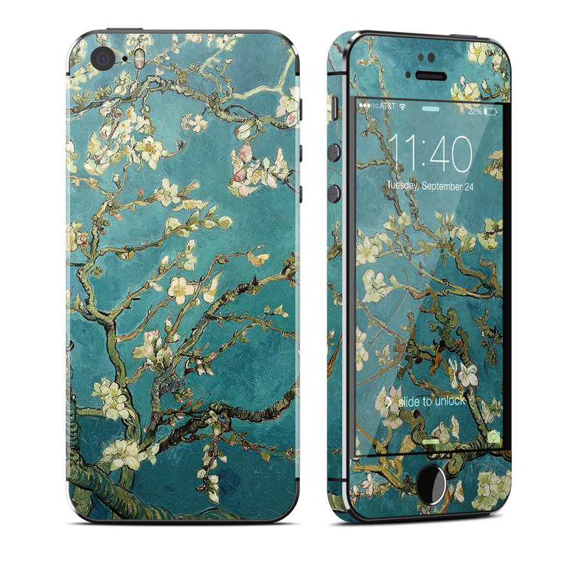 iPhone SE, 5s Skin design of Tree, Branch, Plant, Flower, Blossom, Spring, Woody plant, Perennial plant with blue, black, gray, green colors