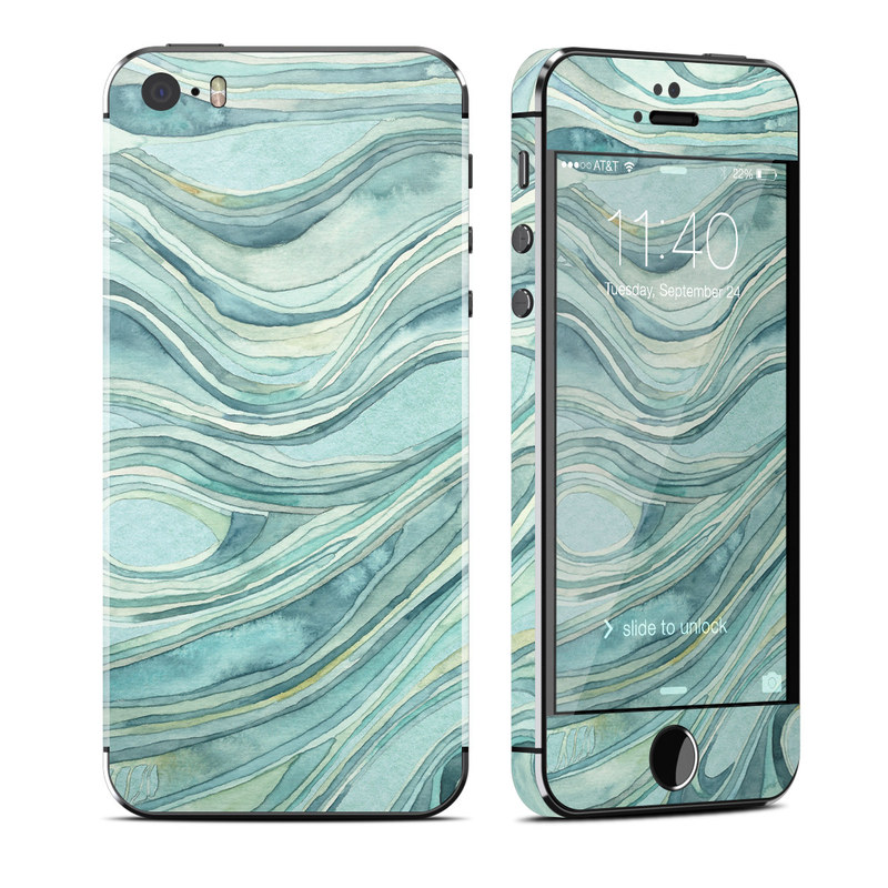 iPhone SE, 5s Skin design of Aqua, Blue, Pattern, Turquoise, Teal, Water, Design, Line, Wave, Textile with gray, blue colors