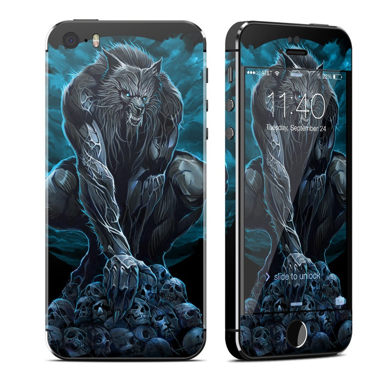 iPhone SE, 5s Skin design of Illustration, Fictional character, Werewolf, Darkness, Art, Mythology, Graphic design, Mythical creature, Cg artwork with gray, blue, black colors