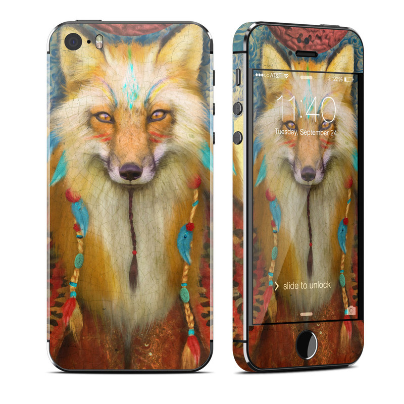 iPhone SE 1st Gen, 5s Skin design of Red fox, Canidae, Fox, Wildlife, Swift fox, Carnivore, Jackal, Fur, Snout, Art with red, black, gray, green, blue colors