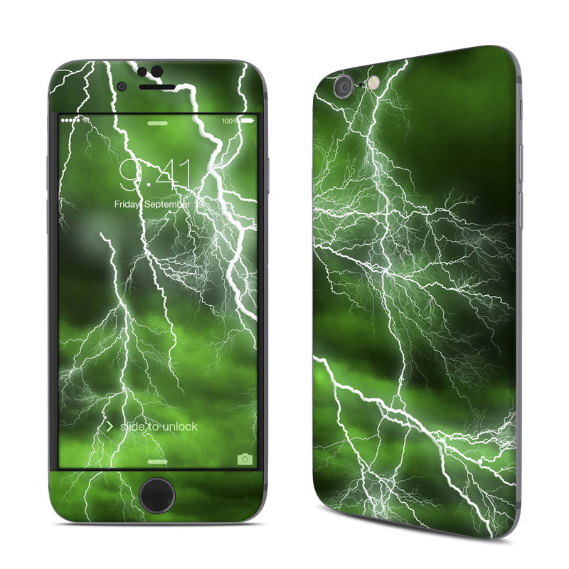 iPhone 6s Skin design of Thunderstorm, Thunder, Lightning, Nature, Green, Water, Sky, Atmosphere, Atmospheric phenomenon, Daytime with green, black, white colors