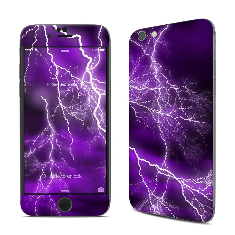 iPhone 6s Skin design of Thunder, Lightning, Thunderstorm, Sky, Nature, Purple, Violet, Atmosphere, Storm, Electric blue with purple, black, white colors