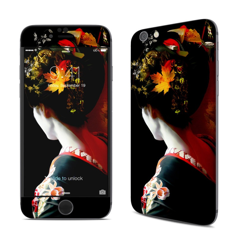 iPhone 6s Skin design of Geisha, Red, Flower, Plant, Headgear, Photography, Peking opera, Costume, Headpiece, Art with black, red, orange, yellow, white colors
