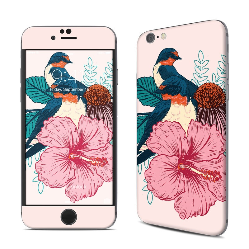 iPhone 6s Skin design of Bird, Hawaiian hibiscus, Hibiscus, Illustration, Chinese hibiscus, Botany, Flower, Plant, Malvales, Mallow family with blue, pink, green, yellow, red colors