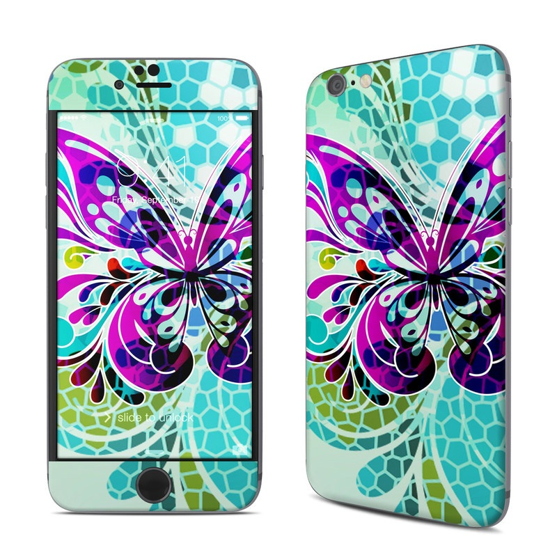 iPhone 6s Skin design of Butterfly, Pattern, Insect, Moths and butterflies, Purple, Graphic design, Design, Pollinator, Visual arts, Magenta with blue, green, purple colors
