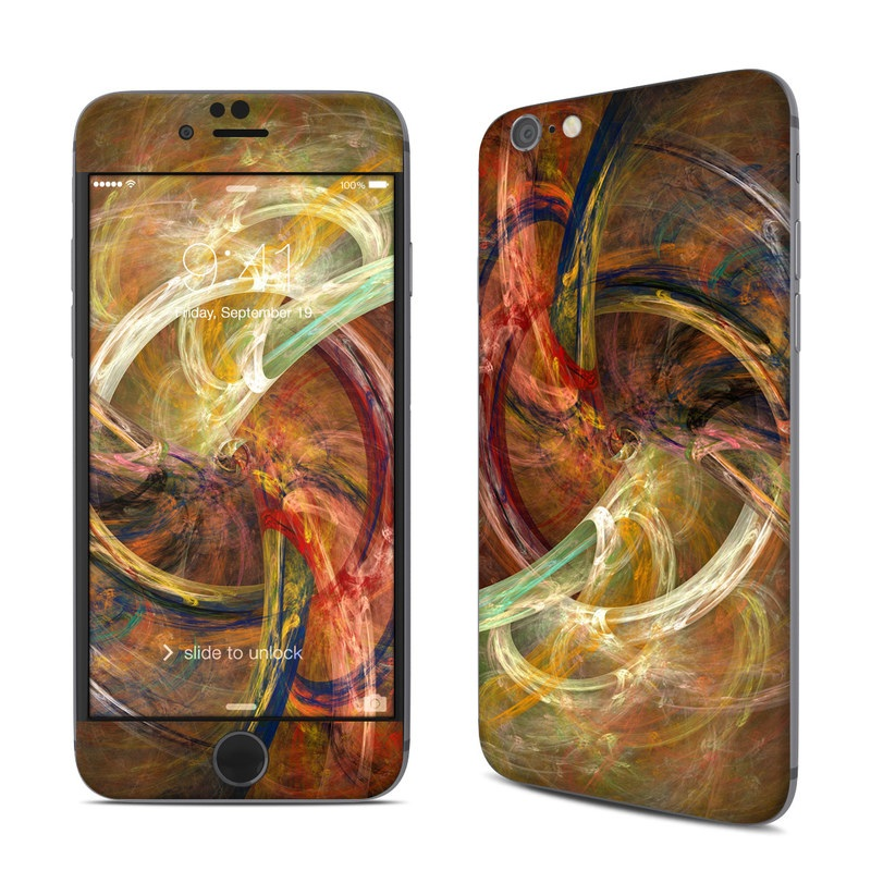 iPhone 6s Skin design of Fractal art, Art, Painting, Visual arts, Modern art, Graphics, Artwork, Stock photography, Circle, Space with brown, red, yellow, orange, green colors
