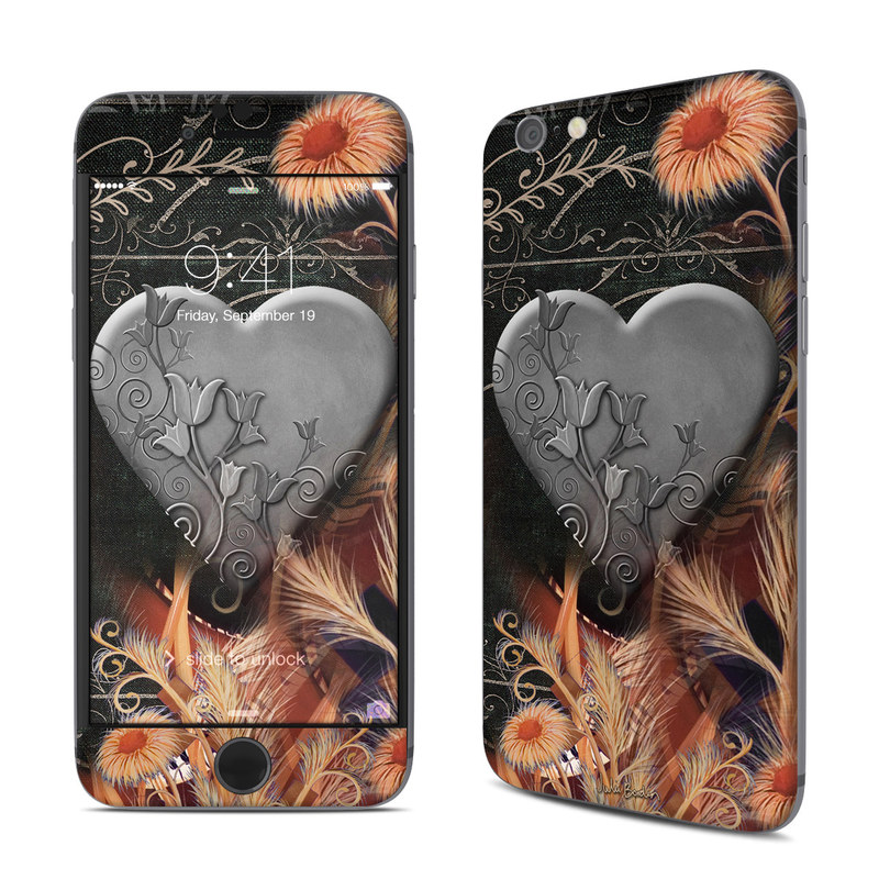 iPhone 6s Skin design of Heart, Organ, Love, Art, Illustration with black, gray, orange colors