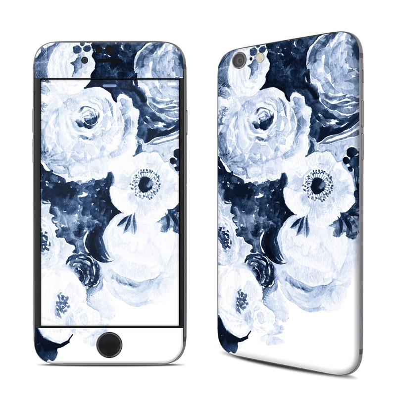 iPhone 6s Skin design of White, Flower, Cut flowers, Garden roses, Plant, Bouquet, Rose, Black-and-white, Rose family, Still life with white, blue colors