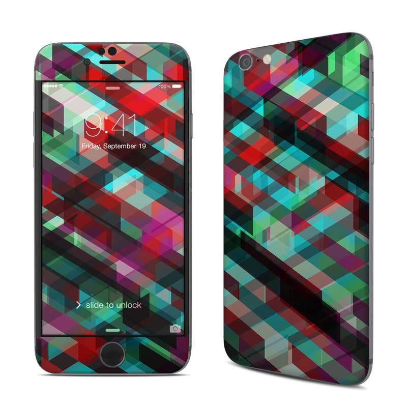 iPhone 6s Skin design of Green, Pattern, Magenta, Purple, Orange, Line, Design, Textile, Plaid with black, red, green, blue, gray colors