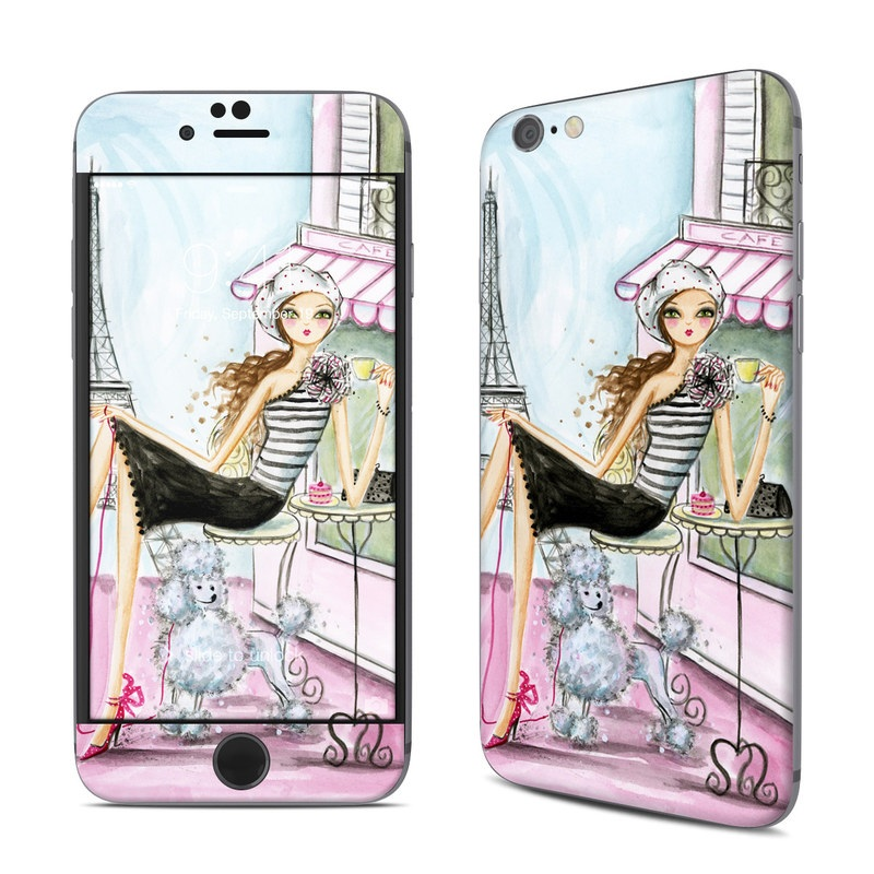 iPhone 6s Skin design of Pink, Illustration, Sitting, Konghou, Watercolor paint, Fashion illustration, Art, Drawing, Style with gray, purple, blue, black, pink colors