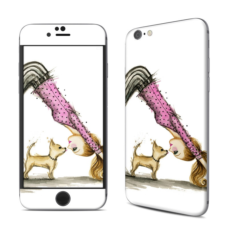 iPhone 6s Skin design of Drawing, Illustration with white, pink, black, white, brown, yellow colors