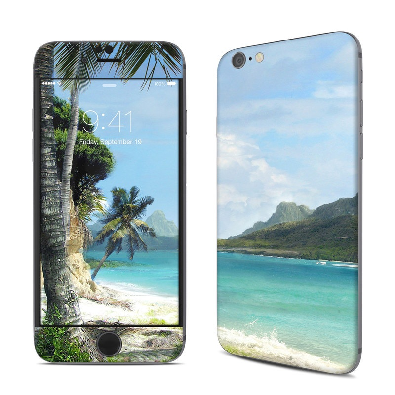 iPhone 6s Skin design of Body of water, Tropics, Nature, Natural landscape, Shore, Coast, Caribbean, Sea, Tree, Beach with gray, black, blue, green colors