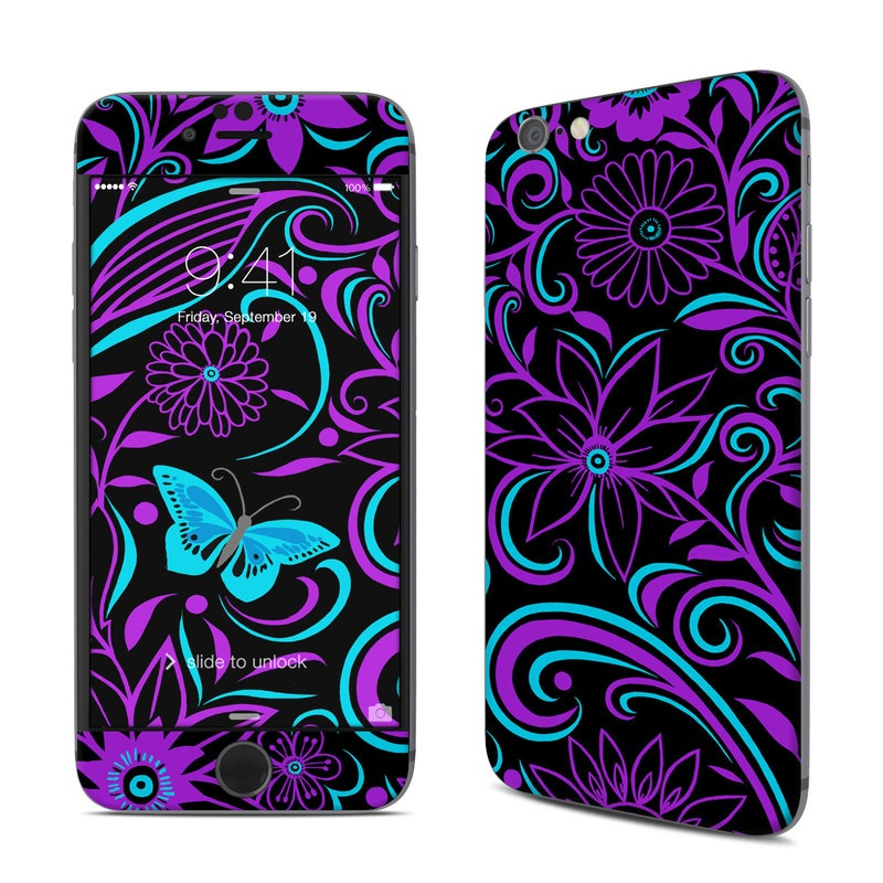 iPhone 6s Skin design of Pattern, Purple, Violet, Turquoise, Teal, Design, Floral design, Visual arts, Magenta, Motif with black, purple, blue colors