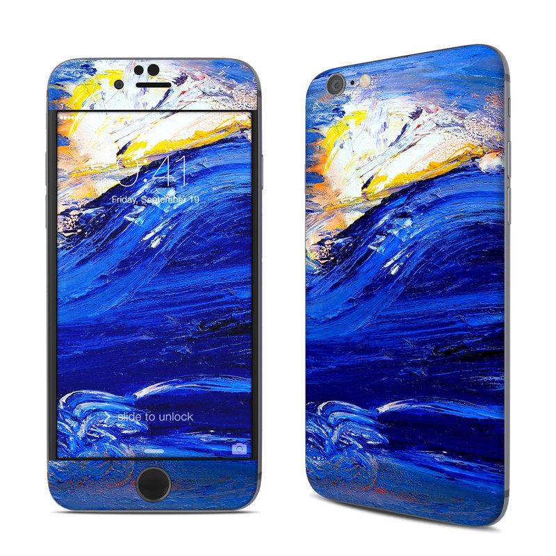 iPhone 6s Skin design of Water, Blue, Wind wave, Wave, Painting, Acrylic paint, Modern art, Art, Visual arts, Watercolor paint with blue, black, gray colors