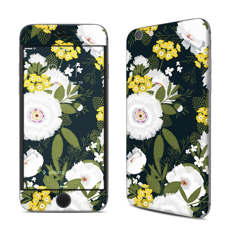 iPhone 6s Skin design of Flower, Flowering plant, Plant, Petal, Daisy, mayweed, Wildflower, Floral design, Annual plant with green, yellow, white, orange colors