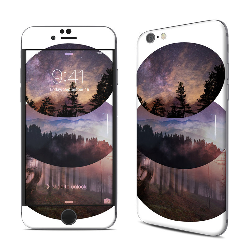 iPhone 6s Skin design of Atmospheric phenomenon, Sky, Sphere, Reflection, Atmosphere, Tree, Circle, Stock photography, Celestial event, Art with white, black, purple, green colors