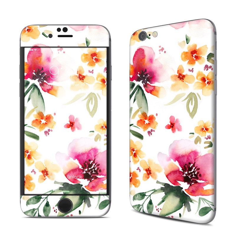 iPhone 6s Skin design of Flower, Floral design, Pink, Pattern, Petal, Plant, Botany, Design, Wildflower, Clip art with white, pink, red, orange, green colors