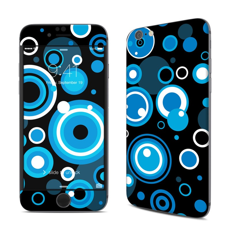 iPhone 6s Skin design of Blue, Circle, Pattern, Aqua, Turquoise, Design, Font, Electric blue, Organism, Graphic design with black, blue, white, gray colors