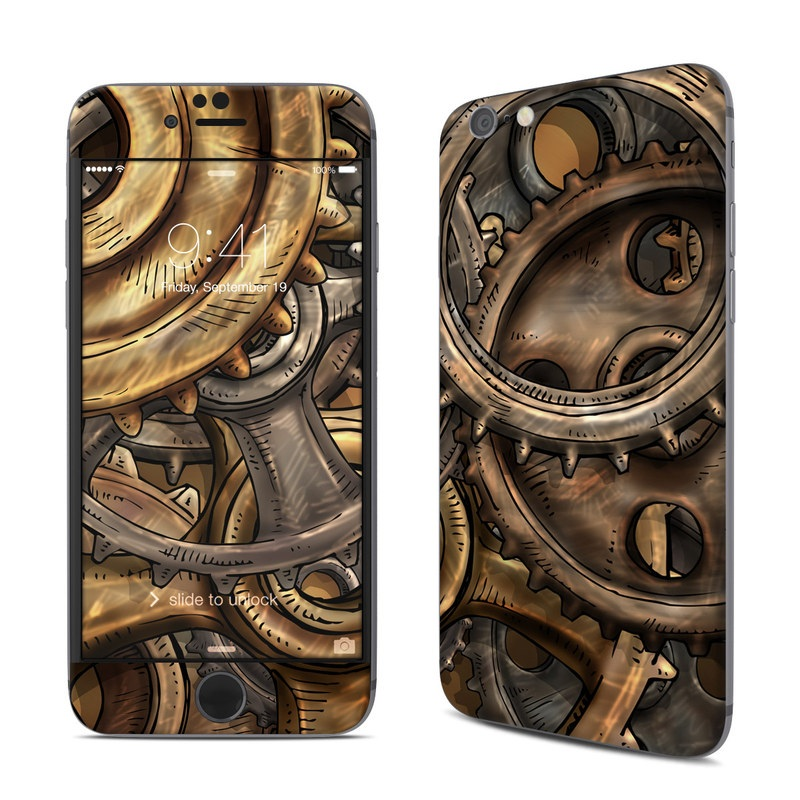 iPhone 6s Skin design of Metal, Auto part, Bronze, Brass, Copper with black, red, green, gray colors