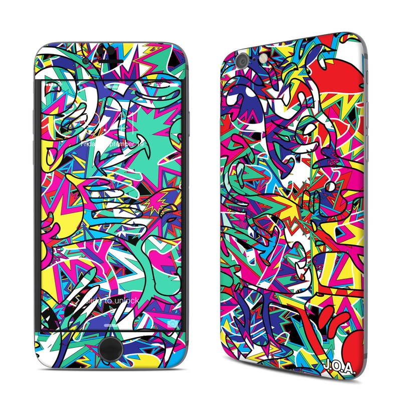 iPhone 6s Skin design of Psychedelic art, Art, Visual arts, Pattern, Design, Graffiti, Graphic design, Modern art, Illustration with black, red, blue, purple, gray colors