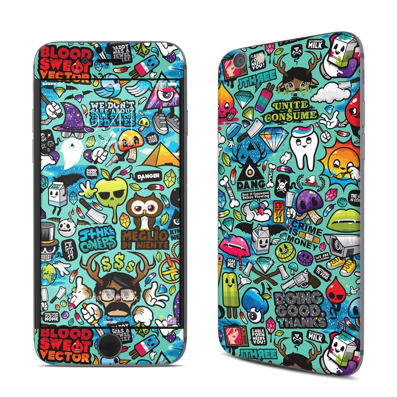 iPhone 6s Skin design of Cartoon, Art, Pattern, Design, Illustration, Visual arts, Doodle, Psychedelic art with black, blue, gray, red, green colors