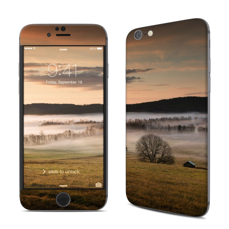 iPhone 6s Skin design of Natural landscape, Nature, Sky, Atmospheric phenomenon, Morning, Water, Mist, Sunrise, Landscape, Atmosphere with green, orange, orange, black colors