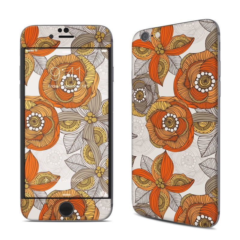 Orange and Grey Flowers iPhone 6s Skin
