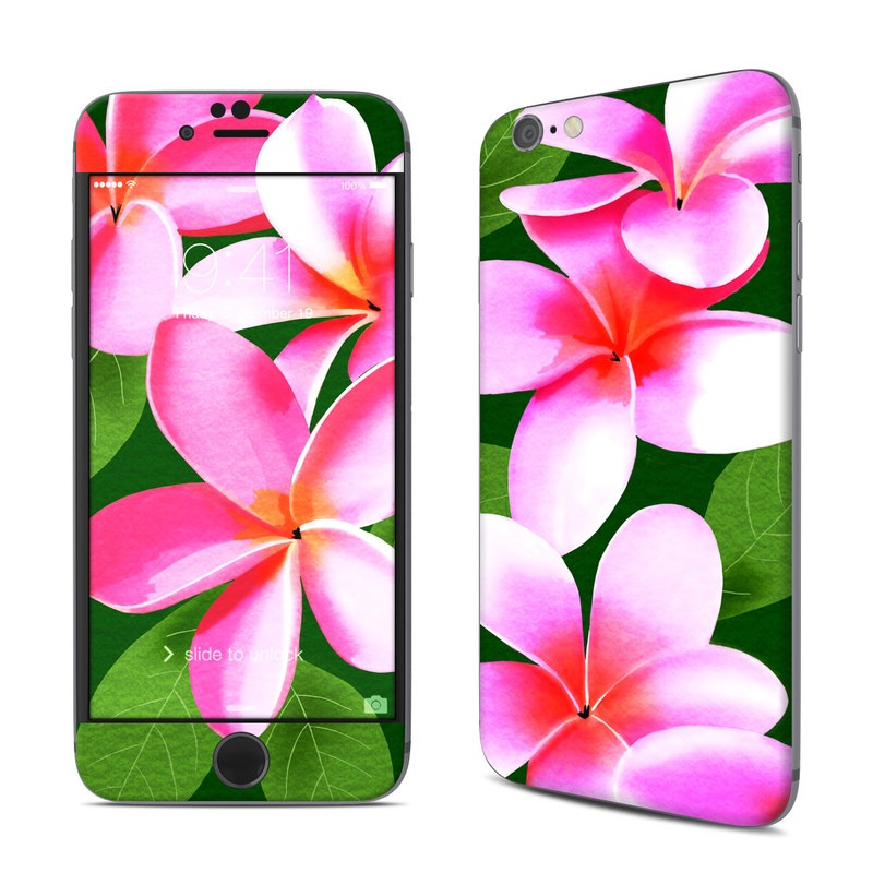 iPhone 6s Skin design of Flower, Petal, frangipani, Pink, Plant, Botany, Flowering plant, Impatiens with pink, black, green, white colors
