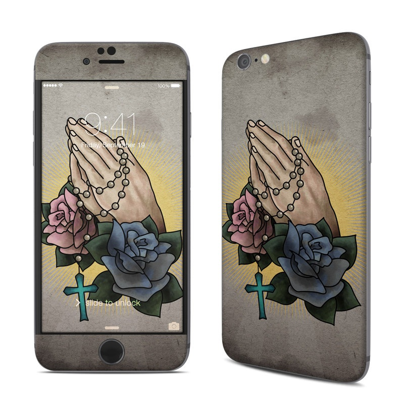 iPhone 6s Skin design of Flower, Rose, Illustration, Plant, Hand, Tattoo, Rose family, Petal, Watercolor paint, Visual arts with black, gray, yellow, red, pink, blue, green, orange colors