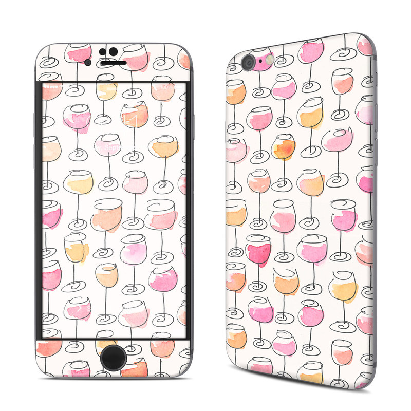 iPhone 6s Skin design of Pattern, Wrapping paper, Pink, Orange, Line, Design, Textile, Peach, Wallpaper with pink, red, orange, white, black colors